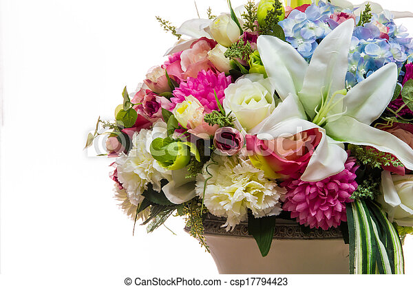 colorful of variety plastic flowers - csp17794423