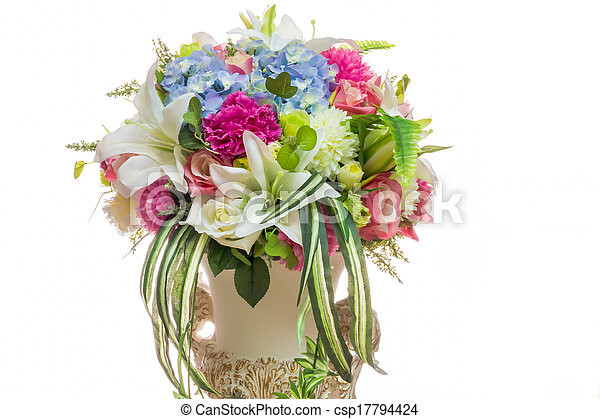 colorful of variety plastic flowers - csp17794424