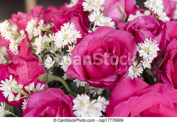colorful of variety plastic flowers. - csp17776909