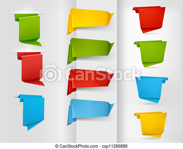 Colorful origami paper banners - csp11266886