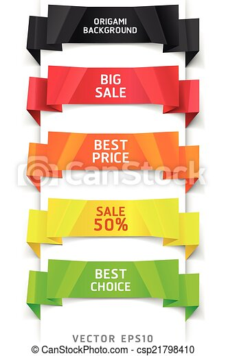 Colorful Origami Style Banner - csp21798410