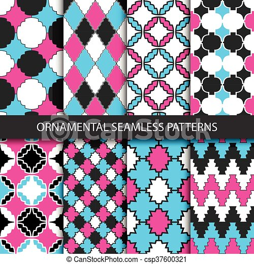 Colorful ornamental patterns - seamless. - csp37600321