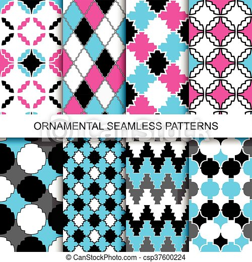 Colorful ornamental seamless patterns. - csp37600224