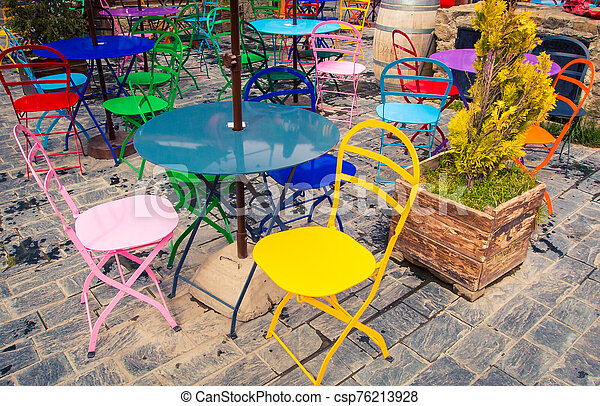 colorful outdoor cafe in Argentina - csp76213928