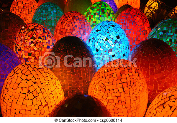 Colorful oval egg shaped lamps - csp6608114