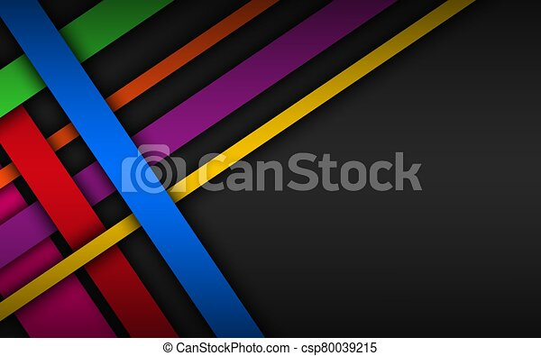 Colorful overlapped stripes, geometric material background, dark abstract corporate design with place for your text, modern vector illustration - csp80039215