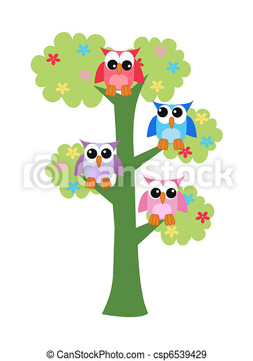 colorful owls sitting in a tree - csp6539429