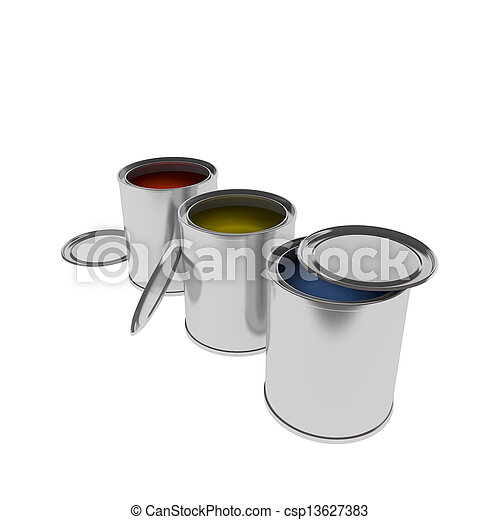colorful Paint Cans isolated on white - csp13627383