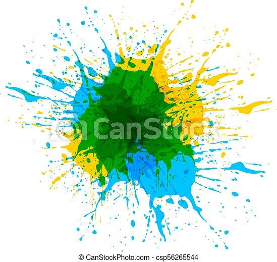 Colorful Paint Splash, VECTOR Illustration, Brush Template Background