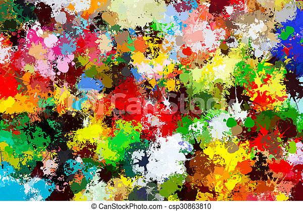 Colorful paint splashes background. Creative art - csp30863810