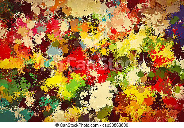 Colorful paint splashes background. Creative art - csp30863800