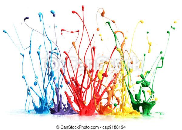 Colorful paint splashing isolated on white - csp9188134