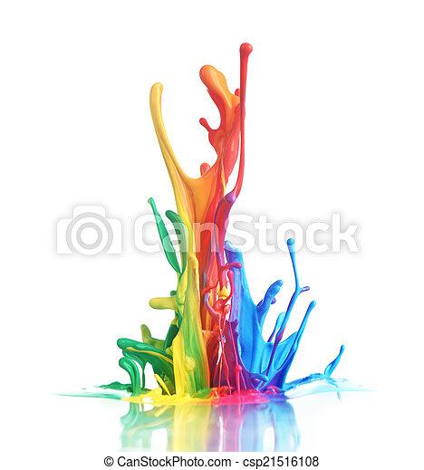 Colorful paint splashing - csp21516108