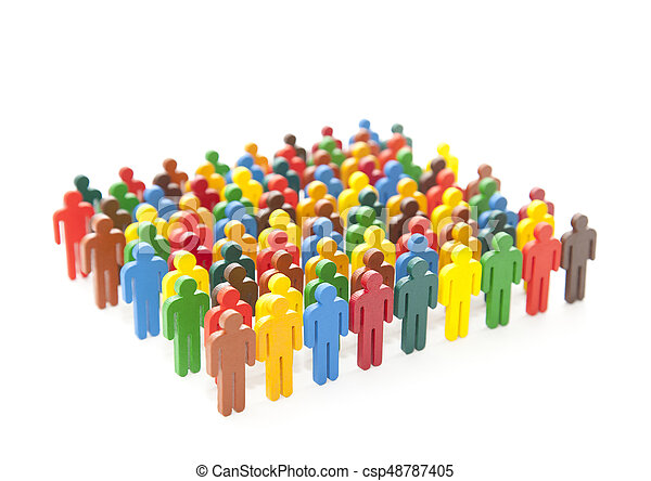 Colorful painted group of people figures on white background - csp48787405