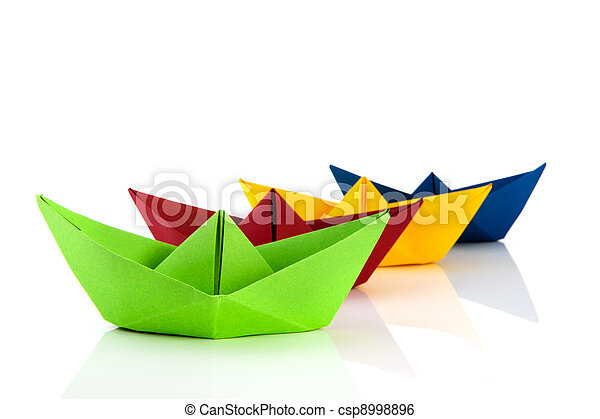 Colorful Paper Boat Colorful Folded Paper Boats Isolated Over White