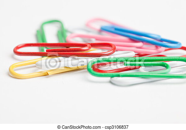 Colorful paper clips isolated on white background - csp3106837