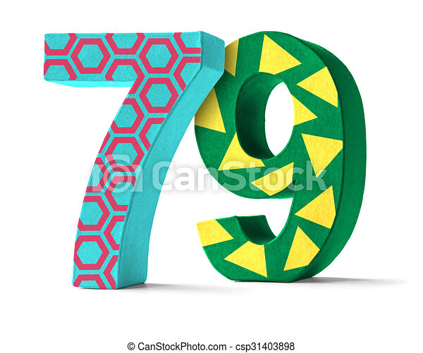 79 >> Colorful Paper Mache Number On A White Background Number 79