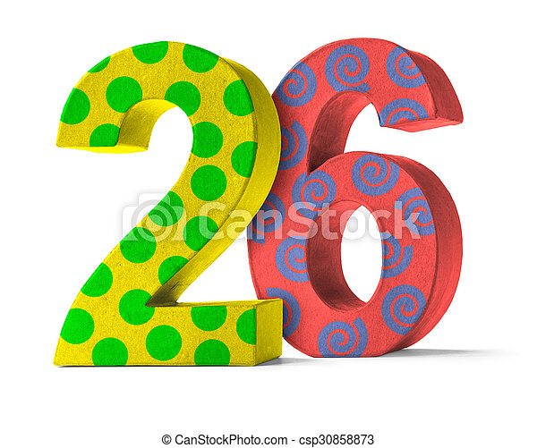 colorful paper mache number on a white background number 26