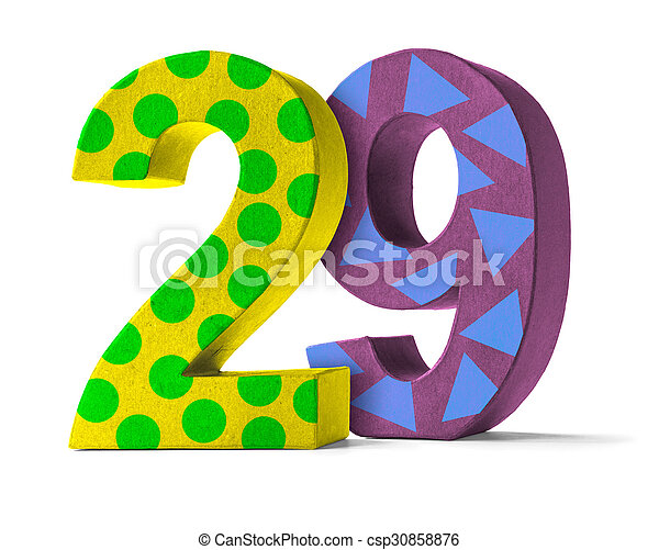 Colorful Paper Mache Number on a white background - Number 29 - csp30858876