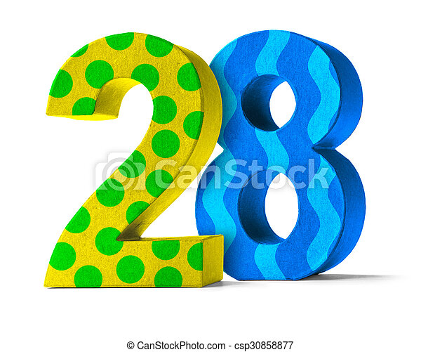Colorful paper mache number on a white background - number ... on