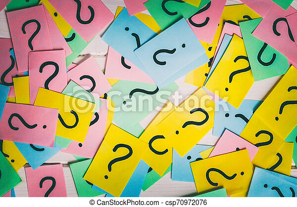 colorful paper notes with question marks. Closeup - csp70972076