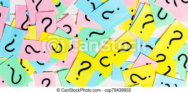 colorful paper notes with question marks. Closeup - csp79439932