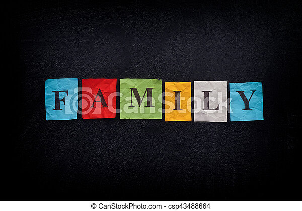 Colorful paper notes with the word Family - csp43488664