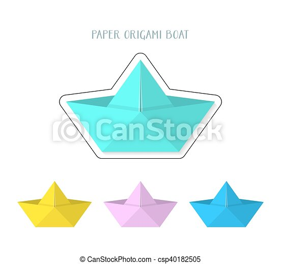 Colorful Paper Origami Boats Collection Vector Illustration