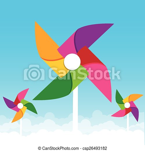 Colorful paper wind turbine on blue sky background vector illustration - csp26493182