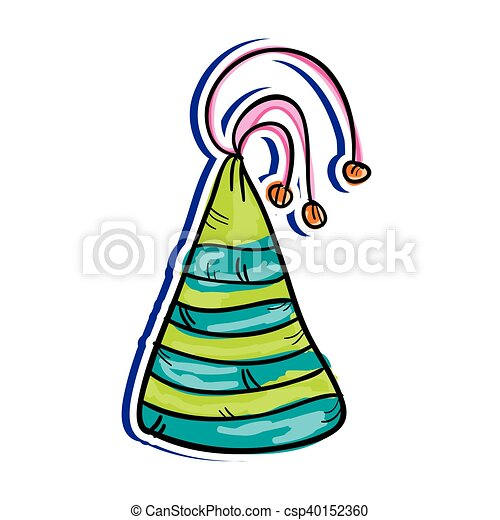 colorful party hat decoration drawn design vector clip art rh canstockphoto com party hat vector icon party hat vector free