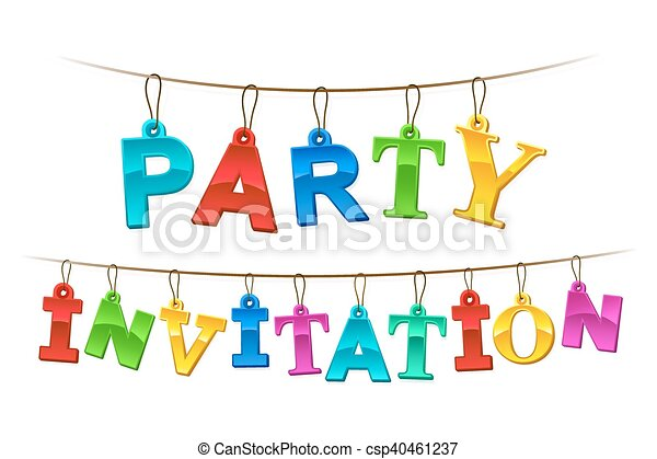 Colorful Party Invitation banner or card design - csp40461237
