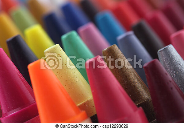 Colorful pastel(crayon) pencils tips for children and others used for kids drawing & coloring arranged attractively in rows and columns making a stunning display of colors - csp12293629