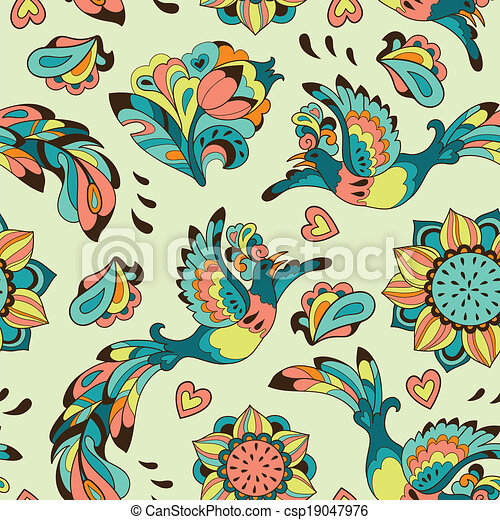 Colorful pattern with bird Phoenix and sunflower - csp19047976