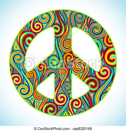 Colorful Peace Illustration Of Peace Sign Made Of Colorful Swirl