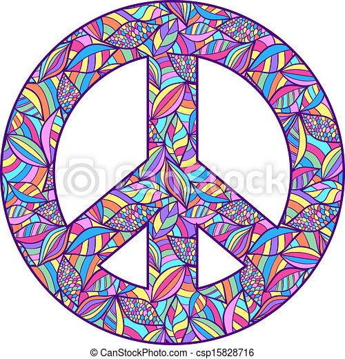 c94860eed Vector illustration of colorful peace symbol on white background.