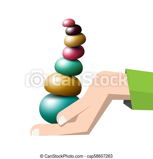 Colorful Pebbles Pile in Human Hand - Vector - csp58607263