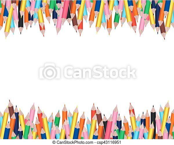 Colorful pencils frame with white background for education design or ...
