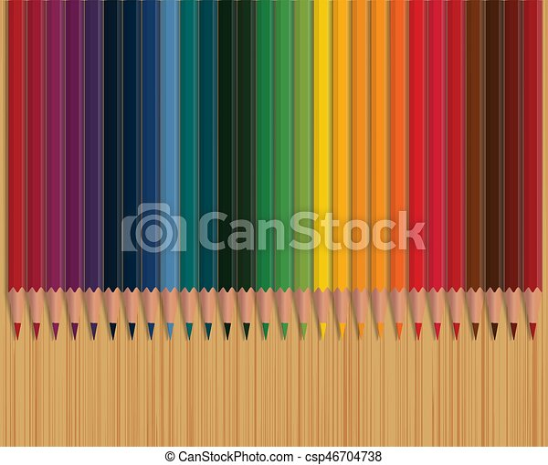 Colorful pencils on wooden table vector illustration. - csp46704738