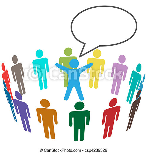 colorful people audience hear leader announcement group of clip rh canstockphoto com announcement clipart free announcement clip art templates