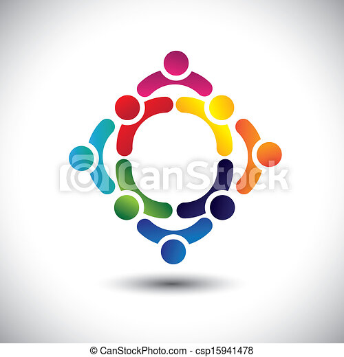 colorful people & children icons in multiple circles- concept vector. This illustration can also represent concept of children playing together or friendship or team building or group activity, etc  - csp15941478