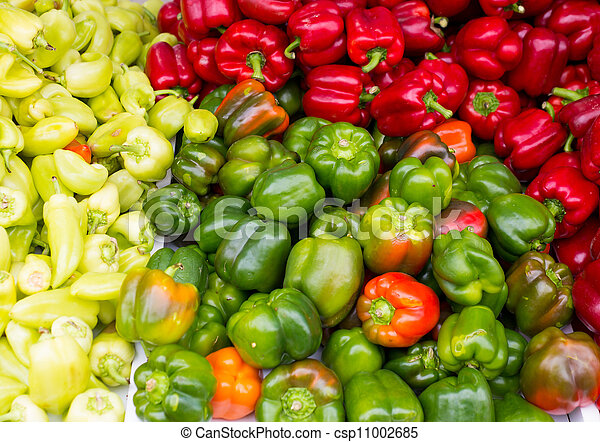 Colorful peppers green yellow red - csp11002685