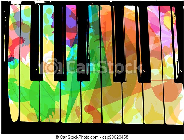 colorful piano illustration - csp33020458
