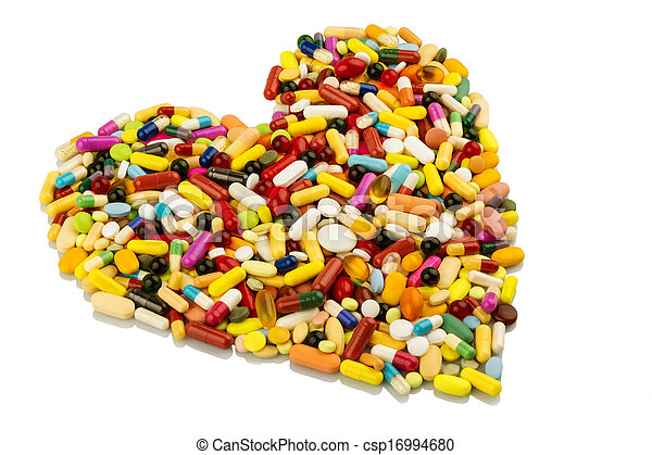 colorful pills in heart shape - csp16994680