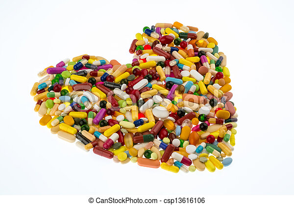 colorful pills in heart shape - csp13616106