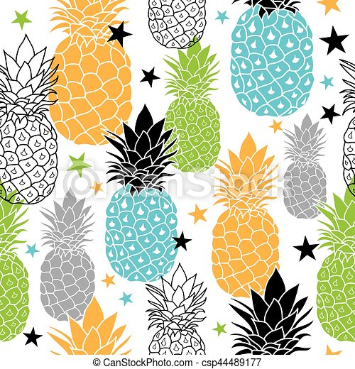 Colorful Pineapples Vector Repeat Seamless Pattrern In Black Blue Orange And Green Colors Great For Fabric Packaging Wallpaper Invitations Surface