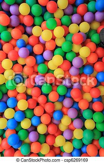 colorful plastic balls in children park - csp6269169
