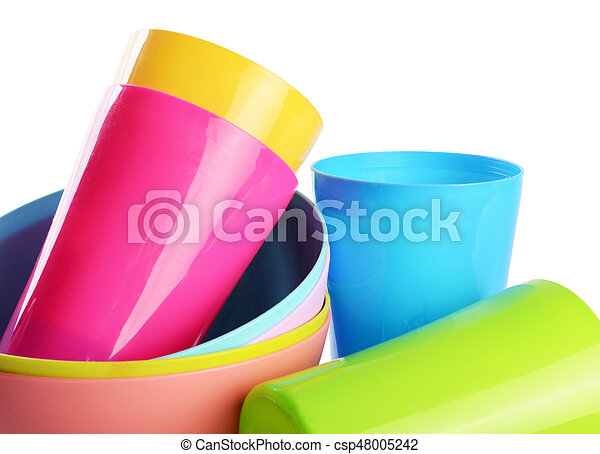 Colorful plastic cups and plates - csp48005242  sc 1 st  Can Stock Photo & Colorful plastic cups and plates. Plastic cups and plates... stock ...