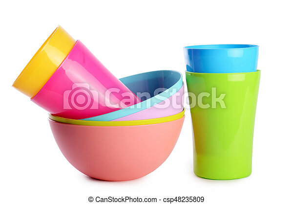 Colorful plastic cups and plates - csp48235809  sc 1 st  Can Stock Photo & Colorful plastic cups and plates. Plastic cups and plates isolated ...