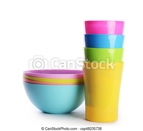 Colorful plastic cups and plates - csp48235738  sc 1 st  Can Stock Photo & Colorful plastic cups and plates. Plastic cups and plates... stock ...