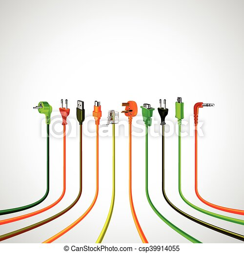 Colorful plug wire cables in perspective view vector... clipart ...
